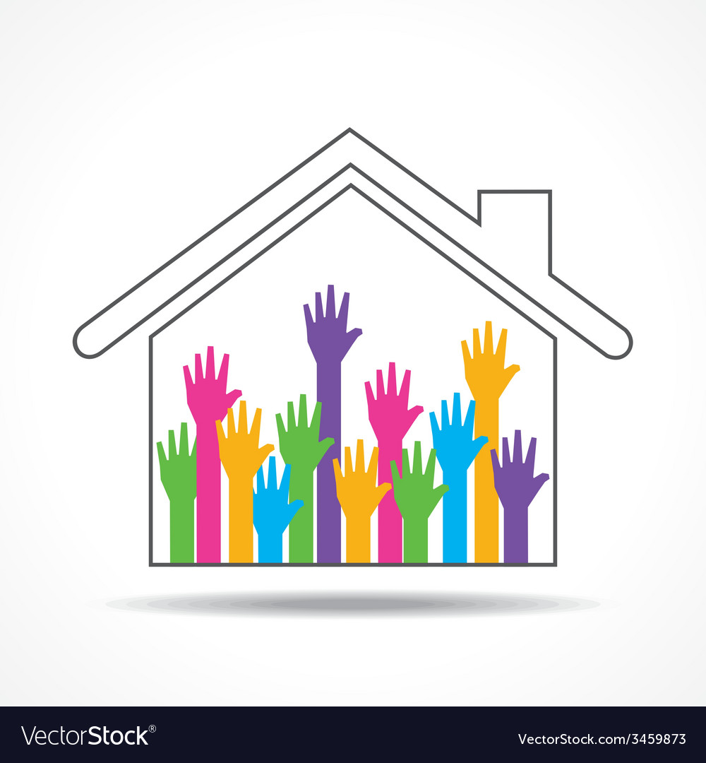 Group of up hands in the home vector | Price: 1 Credit (USD $1)