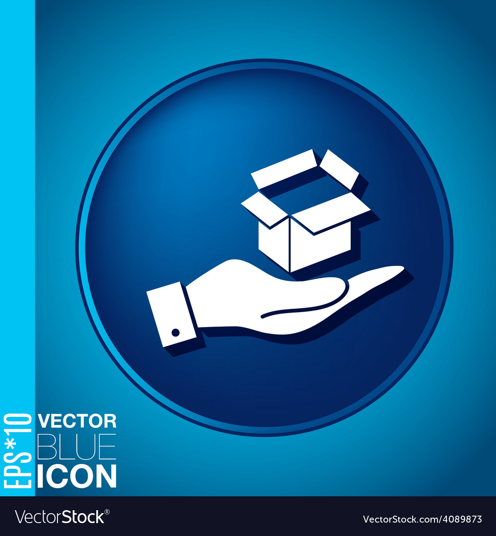Hand holding a opened cardboard box vector   Price: 1 Credit (USD $1)