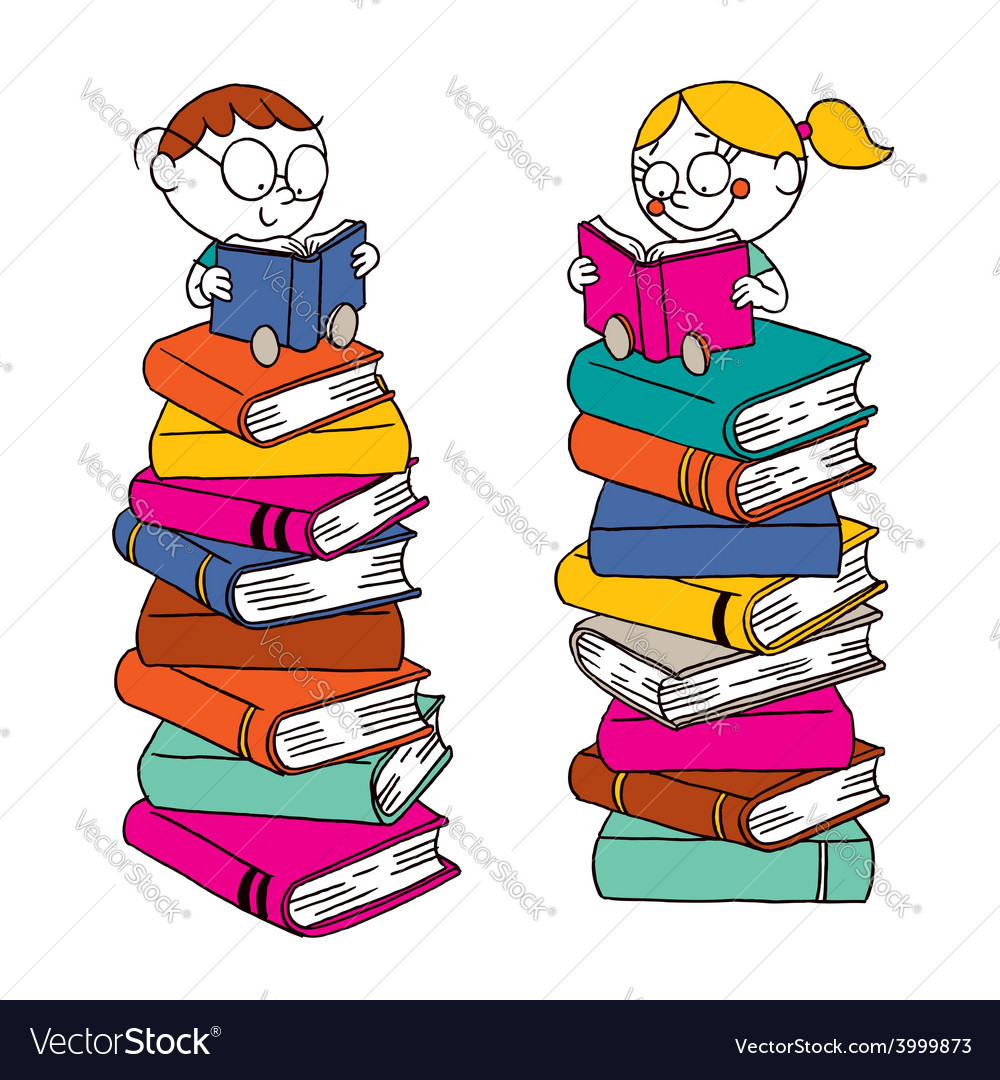 Kids reading on a big pile of books vector | Price: 1 Credit (USD $1)