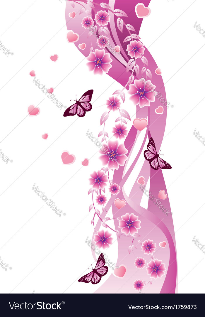 Pink ornament with flowers vector | Price: 1 Credit (USD $1)