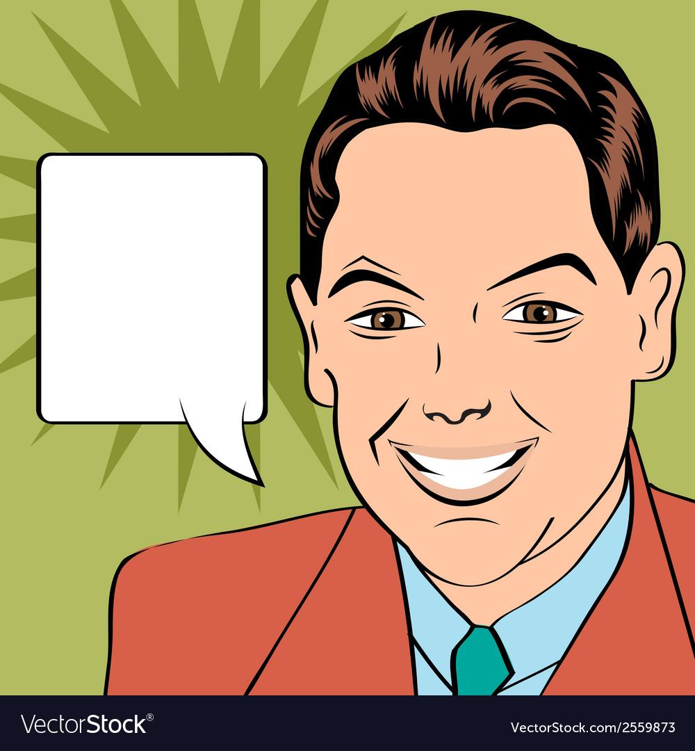 Smiling businessman pop art style vector | Price: 1 Credit (USD $1)