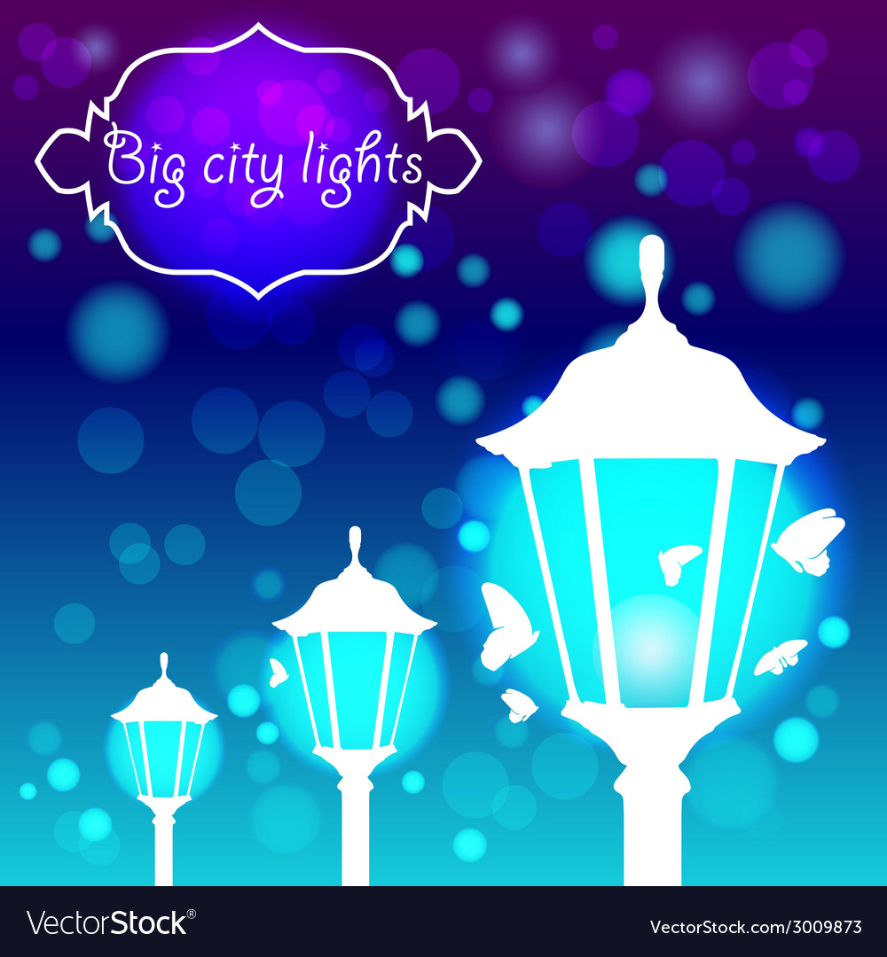 Streetlights with butterfly vector | Price: 1 Credit (USD $1)