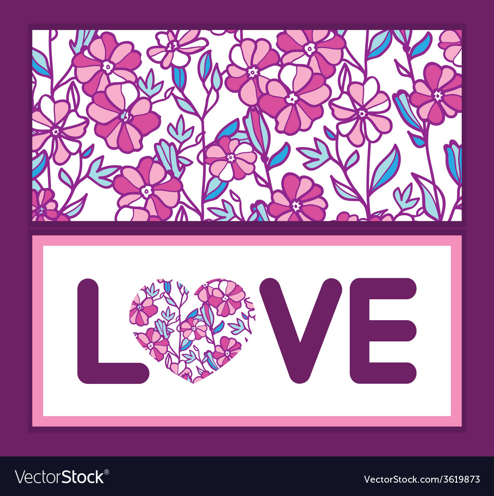 Vibrant field flowers love text frame pattern vector | Price: 1 Credit (USD $1)