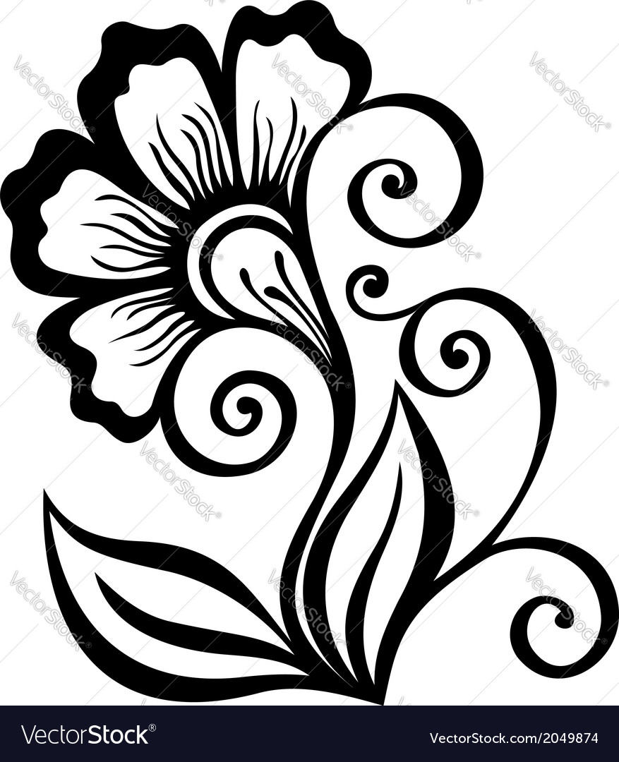Beautiful decorative flower with leaves vector | Price: 1 Credit (USD $1)