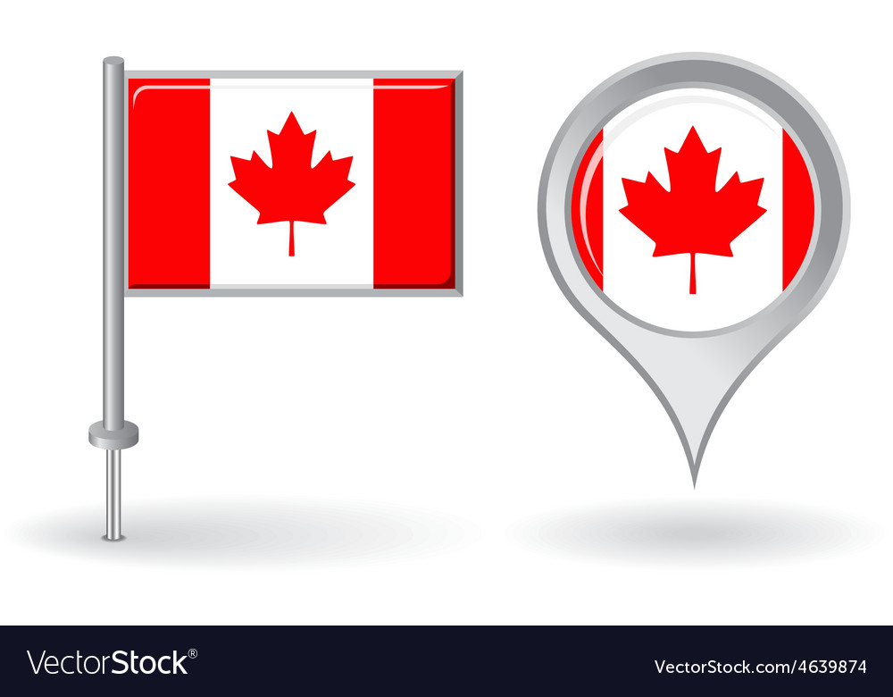 Canadian pin icon and map pointer flag vector | Price: 1 Credit (USD $1)
