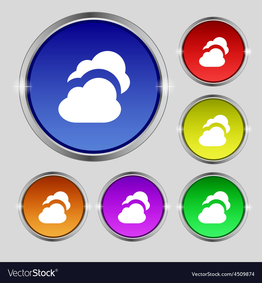Cloud icon sign round symbol on bright colourful vector | Price: 1 Credit (USD $1)