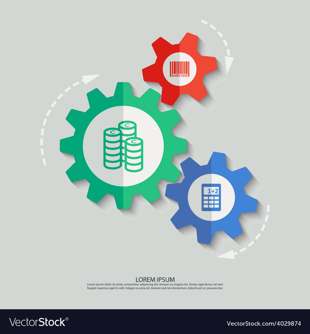 Color cogwheels with bar code coins vector | Price: 1 Credit (USD $1)