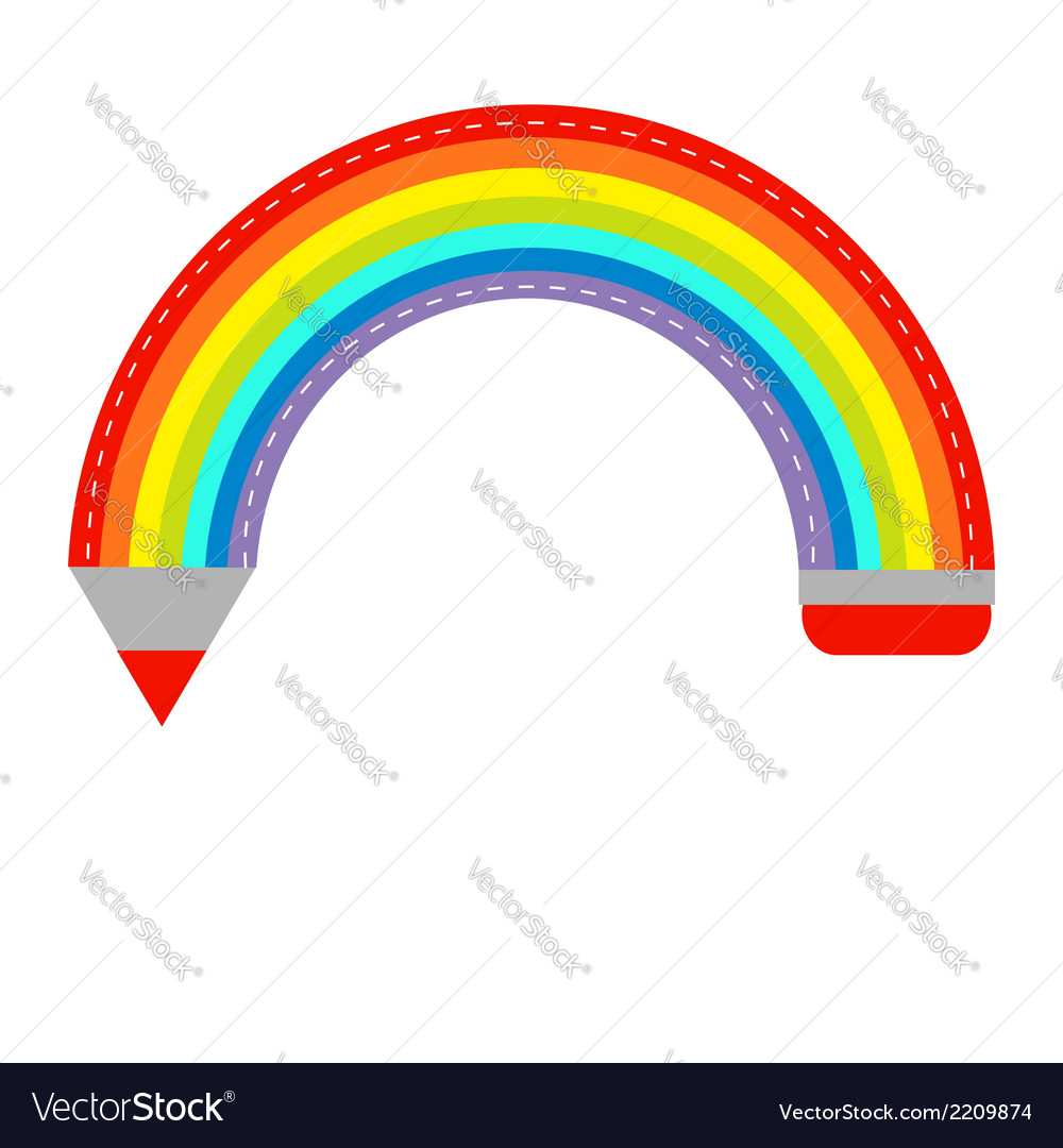 Colored pencil in shape of rainbow isolated flat vector | Price: 1 Credit (USD $1)