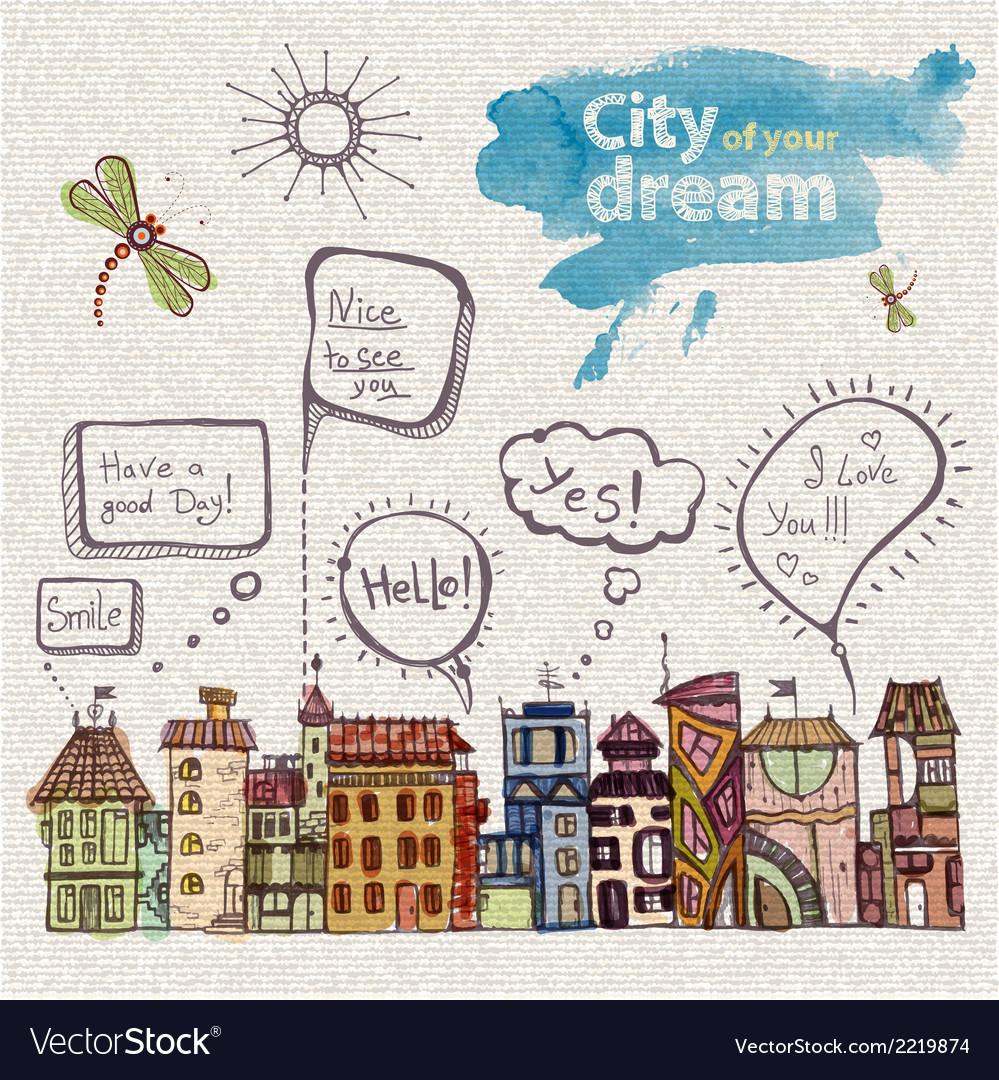Decorative sketch of city vector | Price: 1 Credit (USD $1)