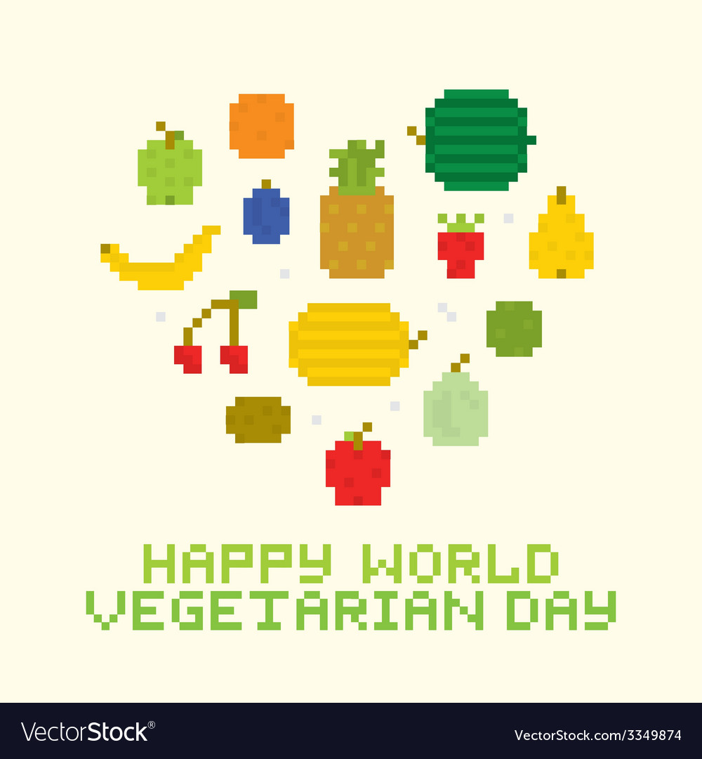 Happy world vegetarian day vector | Price: 1 Credit (USD $1)