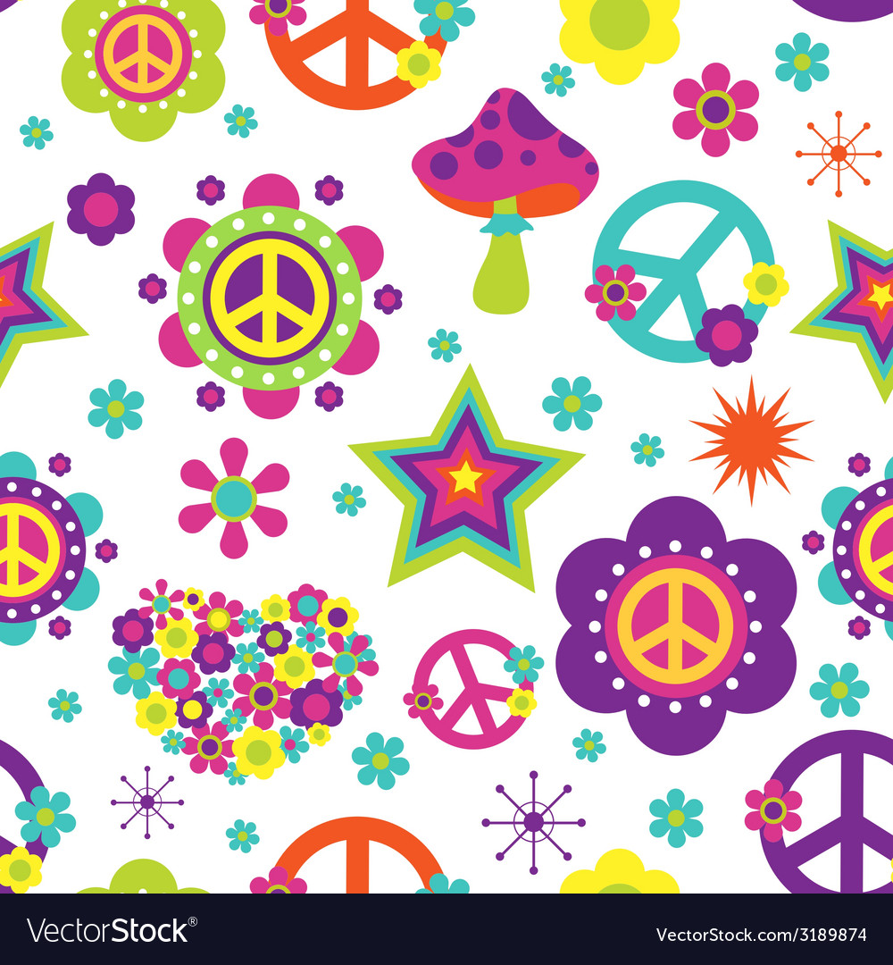 Hippie style psychedelic elements seamless pattern vector | Price: 1 Credit (USD $1)