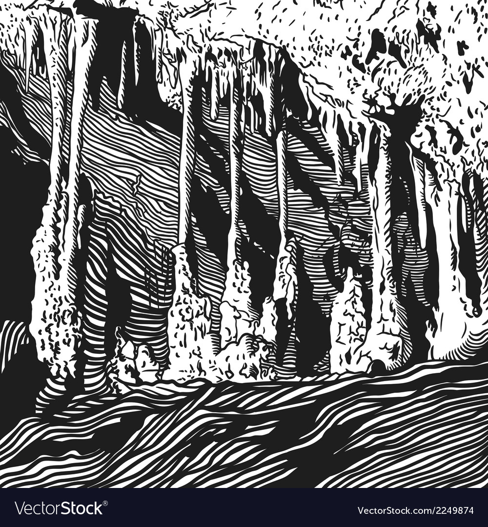 Karst cave stalactite stalagmite vector | Price: 1 Credit (USD $1)