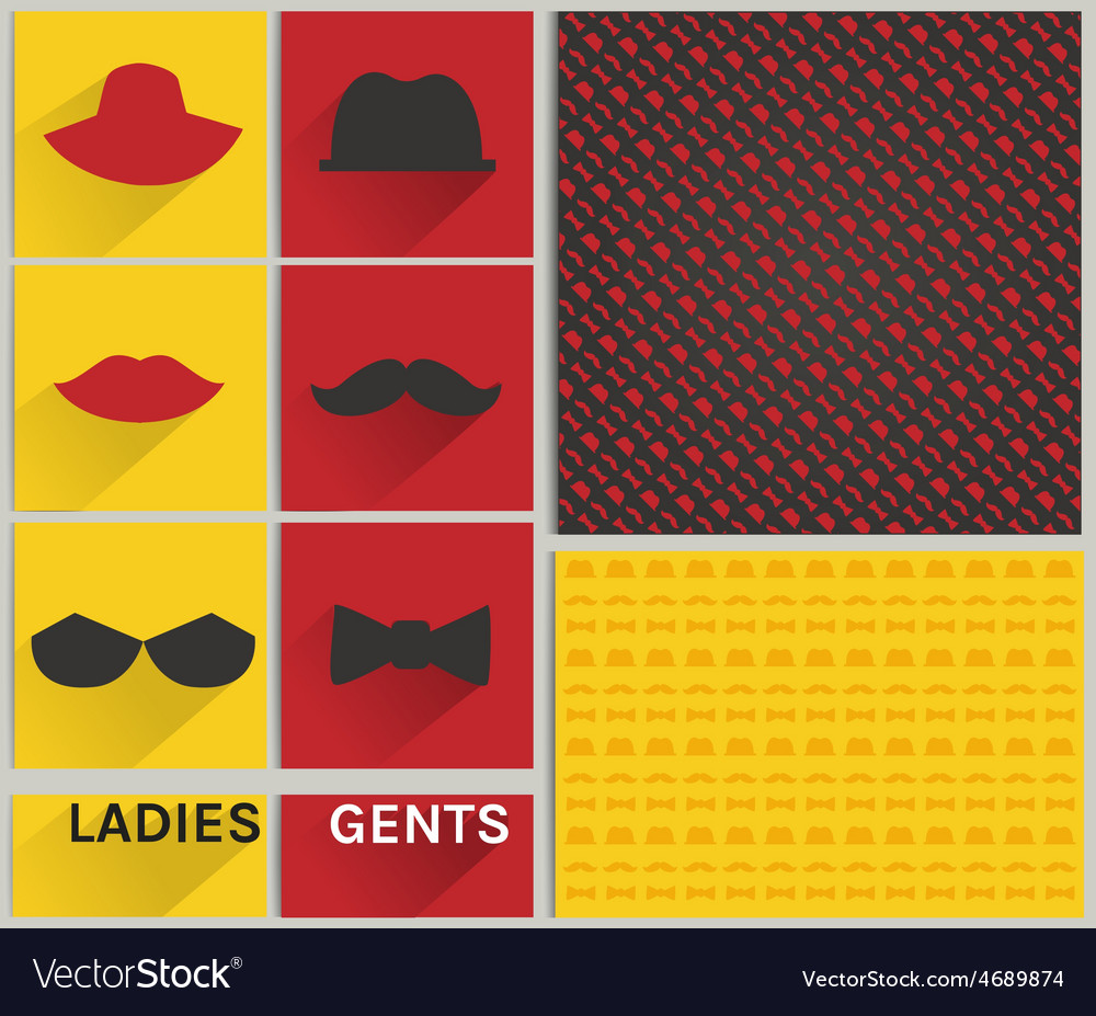 Ladies and gents pattern hipster set vector | Price: 1 Credit (USD $1)