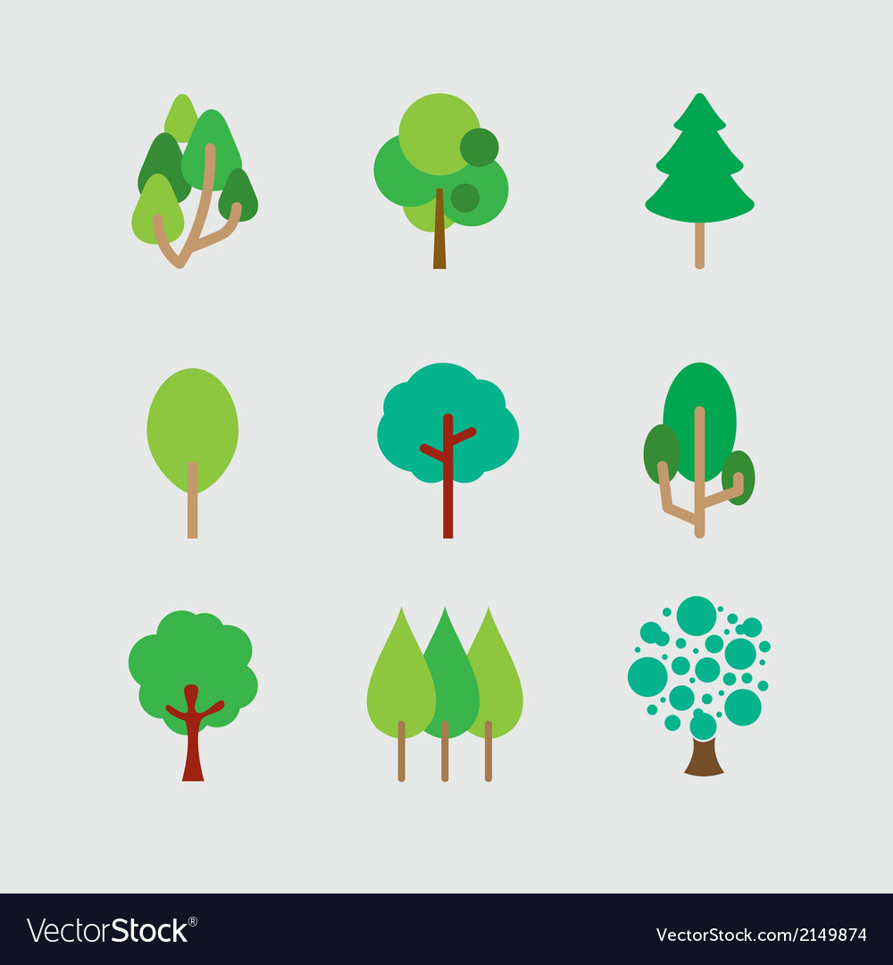 Set of different trees vector | Price: 1 Credit (USD $1)