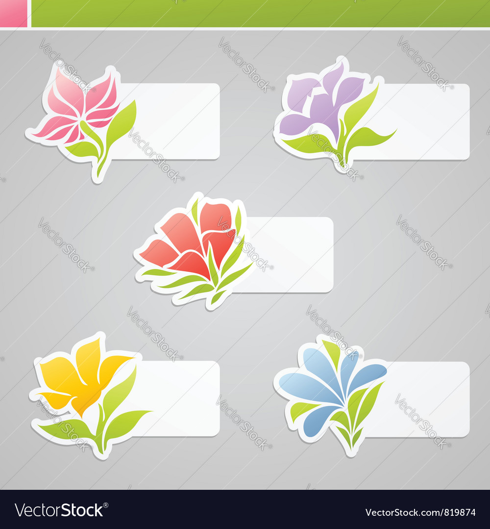 Set of multicolored flowers vector | Price: 1 Credit (USD $1)