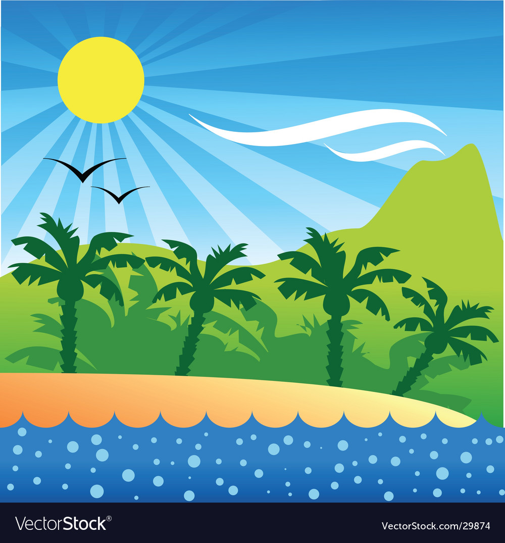 Tropical isle background vector | Price: 1 Credit (USD $1)