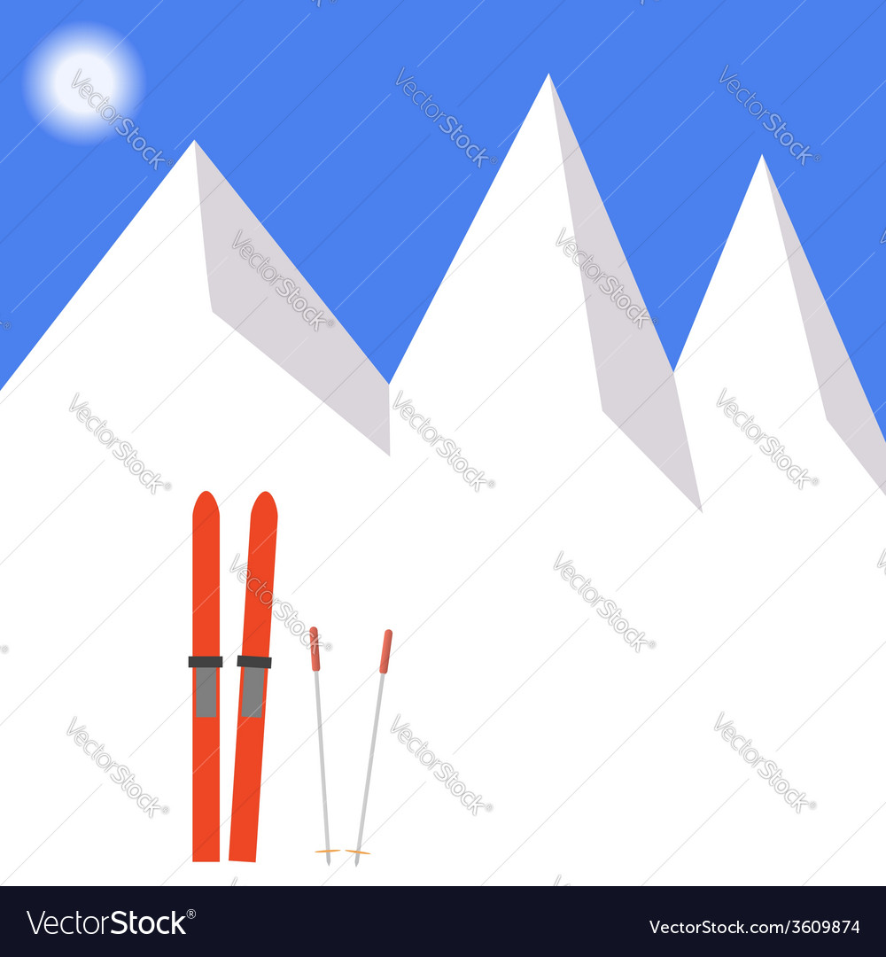 Winter landscape skiing in the snow vector | Price: 1 Credit (USD $1)