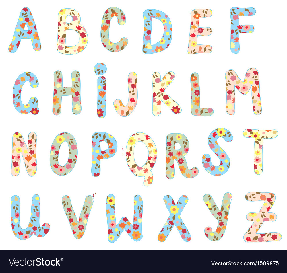 Alphabet floral set vector | Price: 1 Credit (USD $1)
