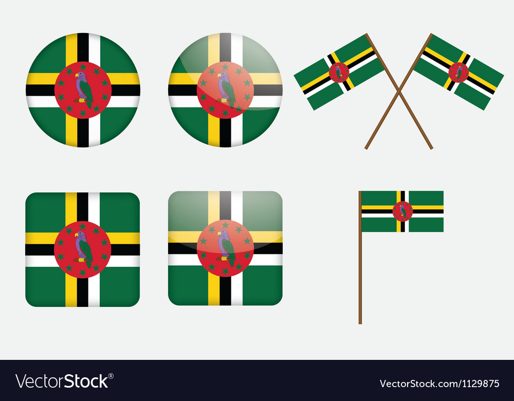 Commonwealth of dominica flag badge vector | Price: 1 Credit (USD $1)