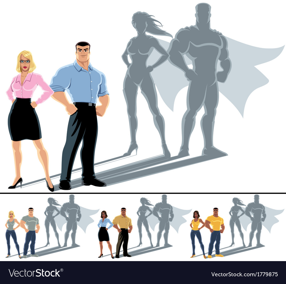 Couple superhero concept vector | Price: 1 Credit (USD $1)