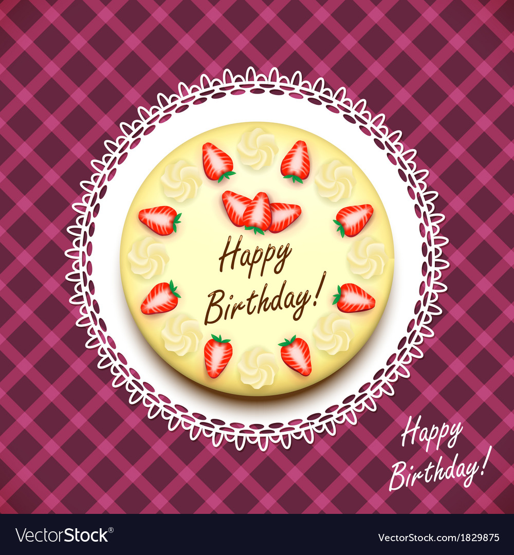 Cream birthday cake decorated with strawberries vector | Price: 1 Credit (USD $1)