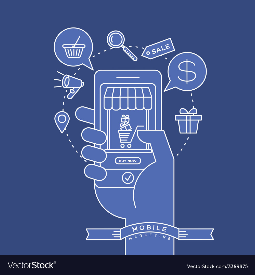 Outline e-commerce icons and smart phone in hand vector | Price: 1 Credit (USD $1)