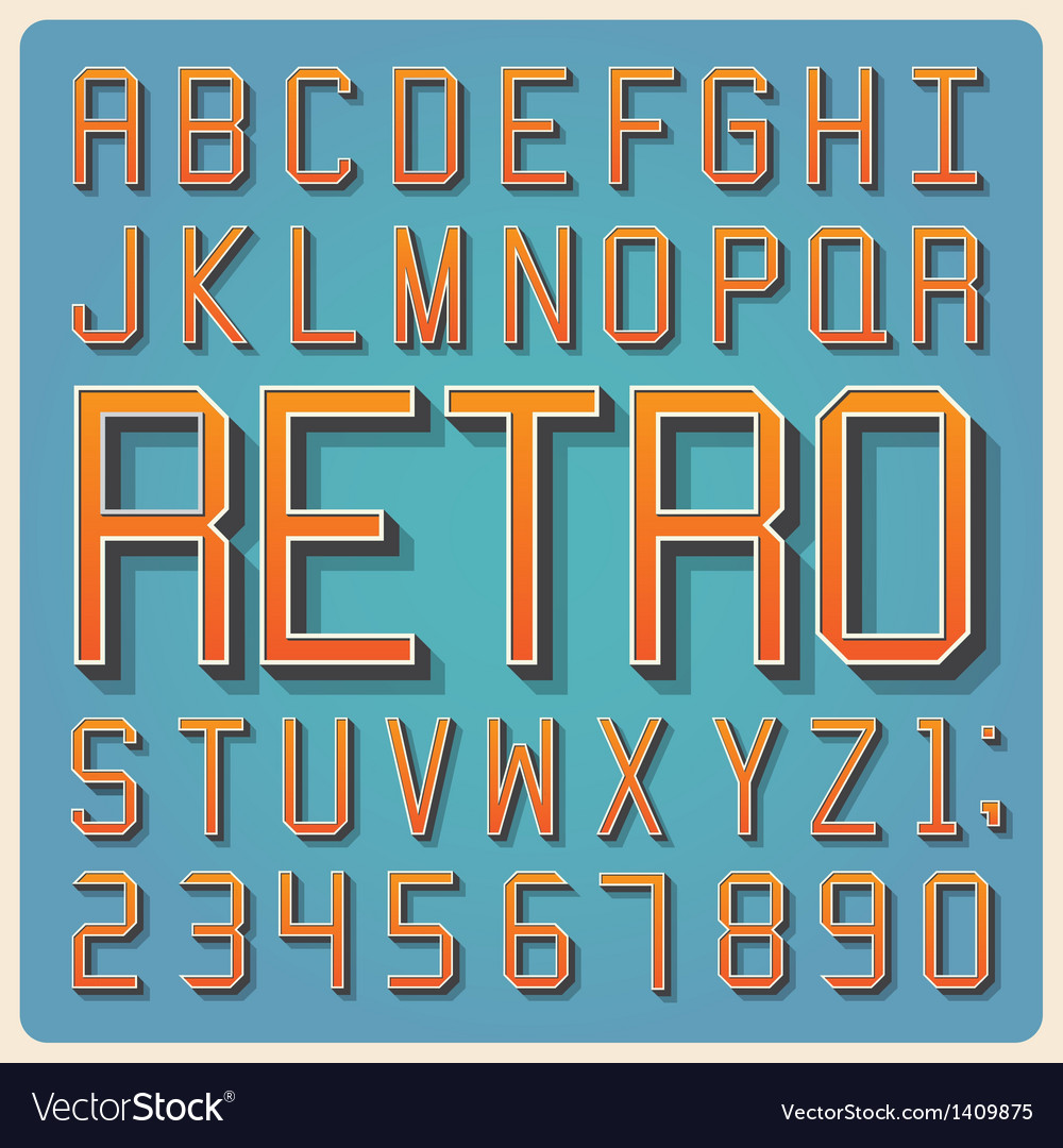 Retro type font vintage typography vector | Price: 1 Credit (USD $1)