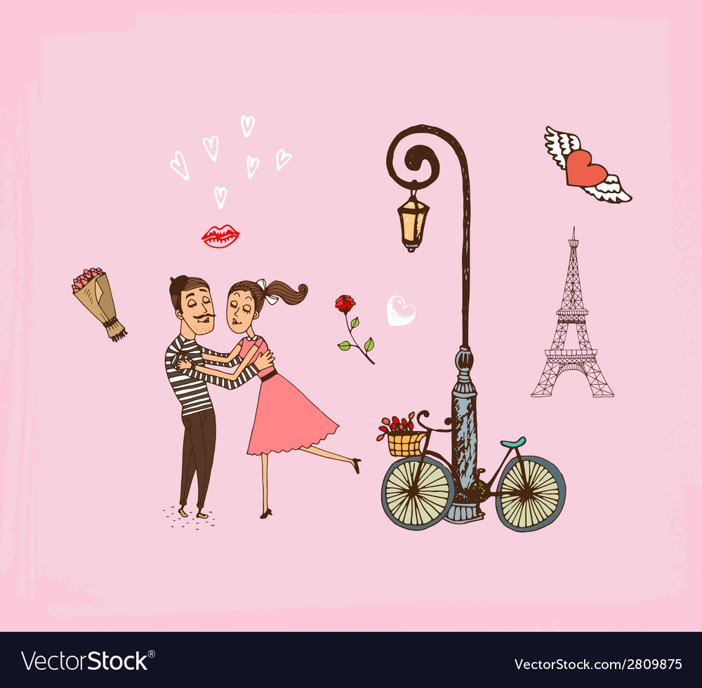 Romantic couple on a paris vacation vector | Price: 1 Credit (USD $1)