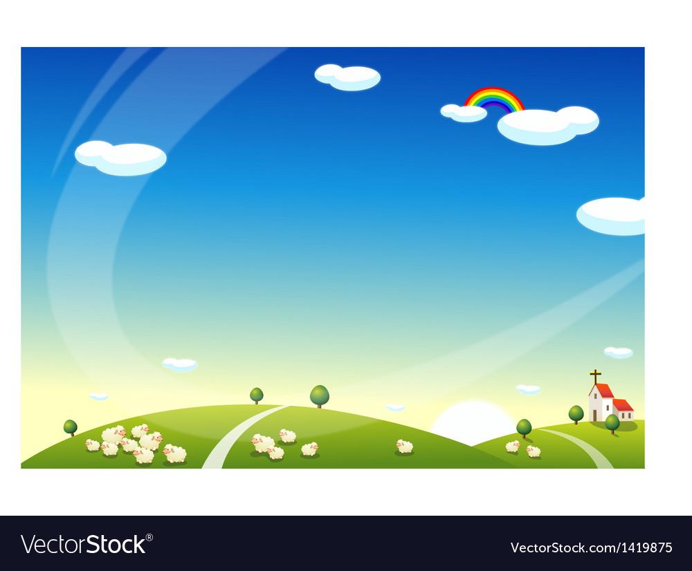 Sheep grazing vector | Price: 1 Credit (USD $1)