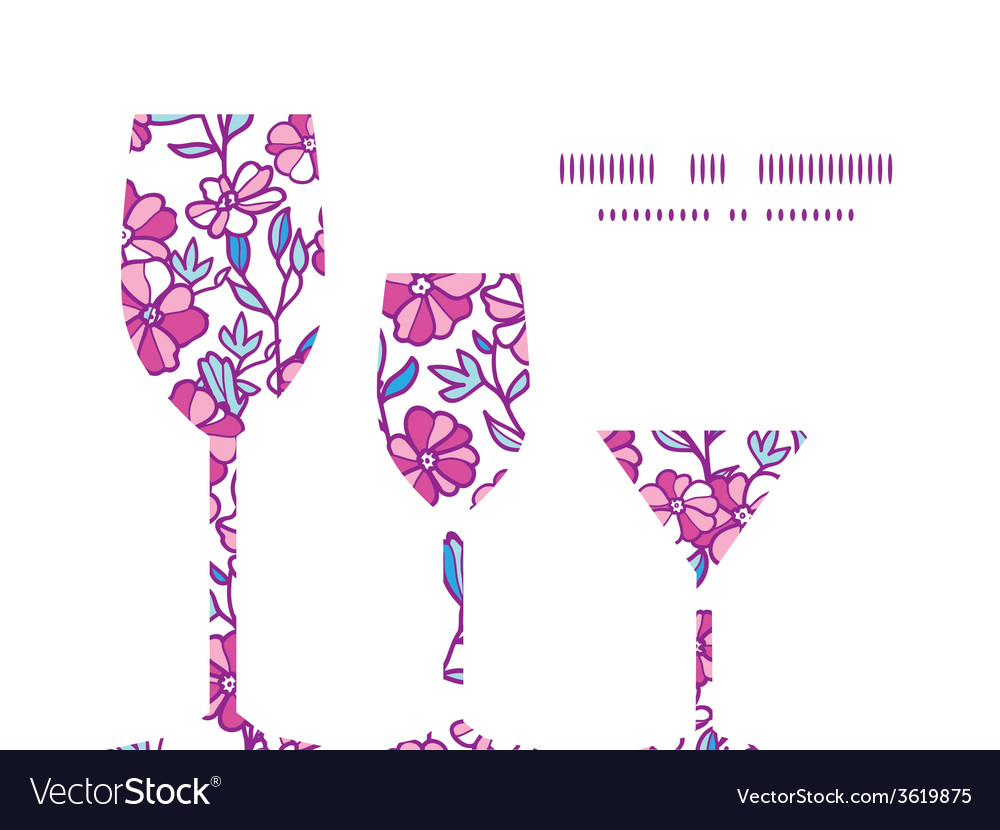 Vibrant field flowers three wine glasses vector | Price: 1 Credit (USD $1)