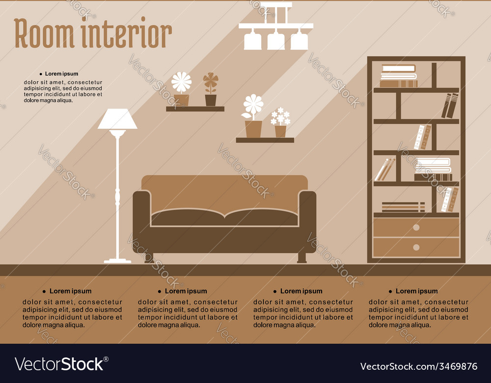 Brown living room interior vector | Price: 1 Credit (USD $1)