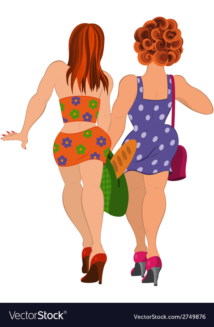 Cartoon two girls walking back view vector | Price: 1 Credit (USD $1)