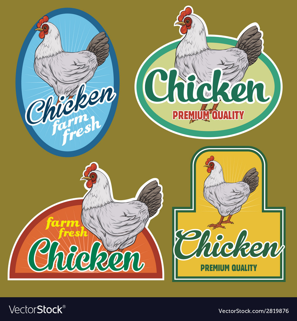 Chicken vintage labels set vector | Price: 1 Credit (USD $1)