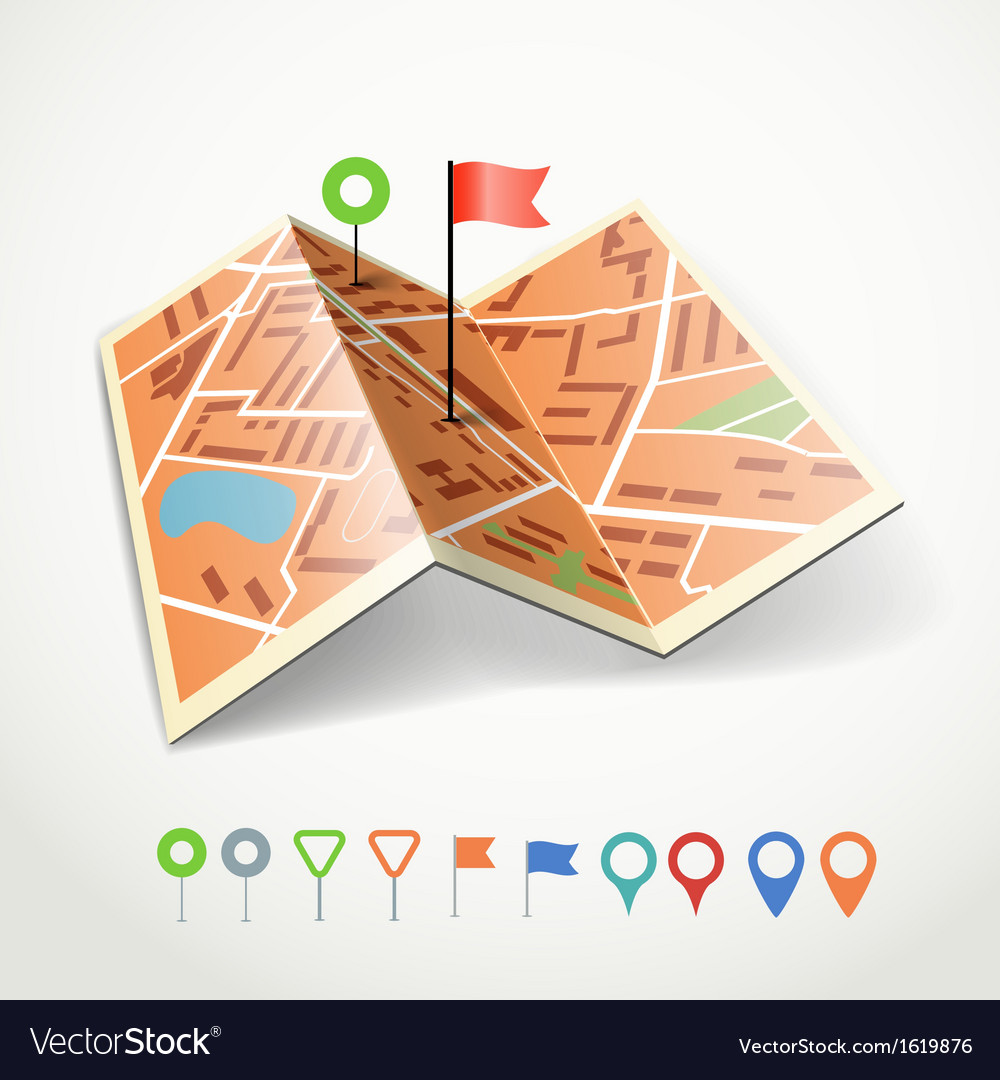 Folded abstract city map vector | Price: 1 Credit (USD $1)