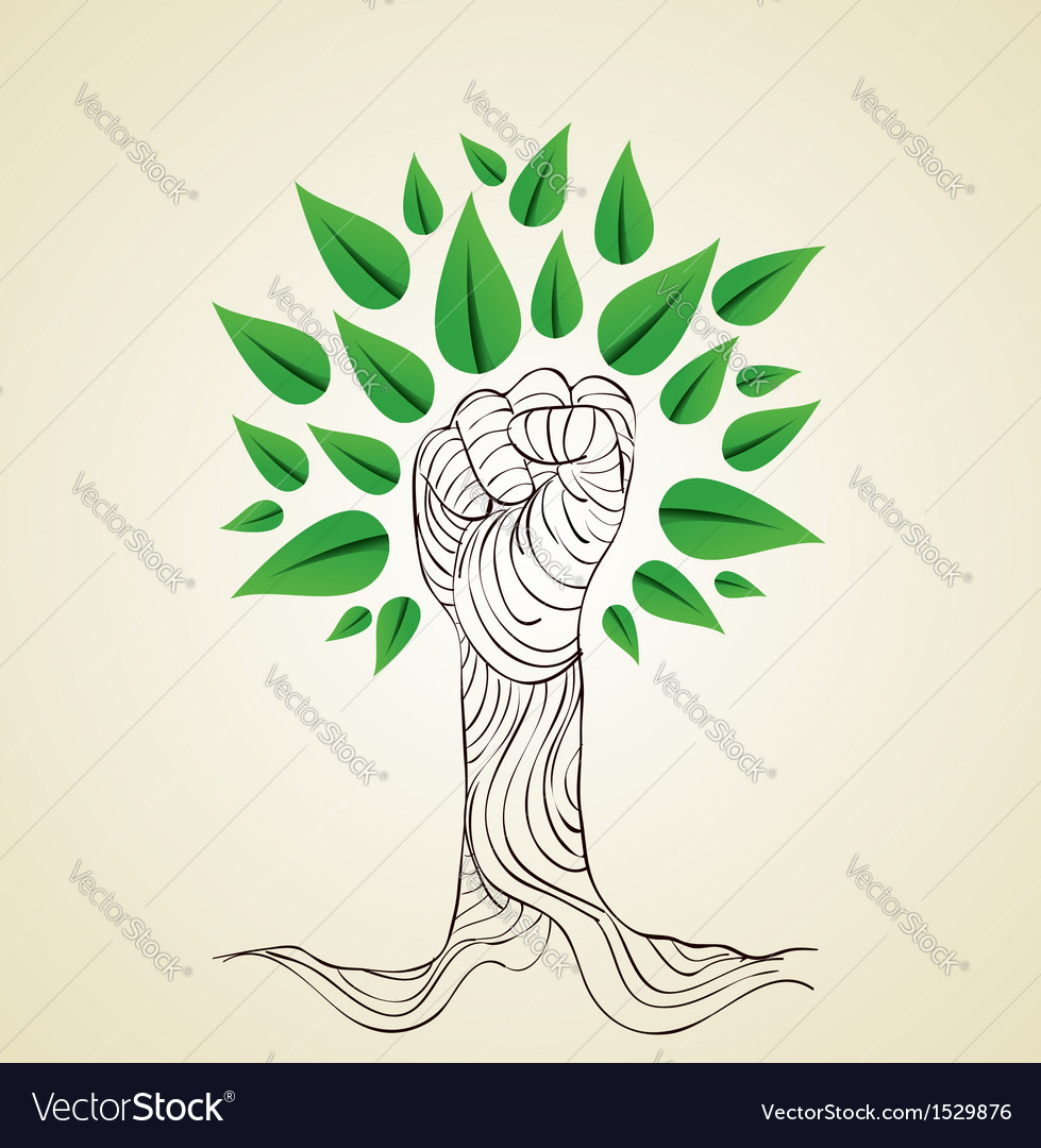 Go green hand concept tree vector | Price: 1 Credit (USD $1)
