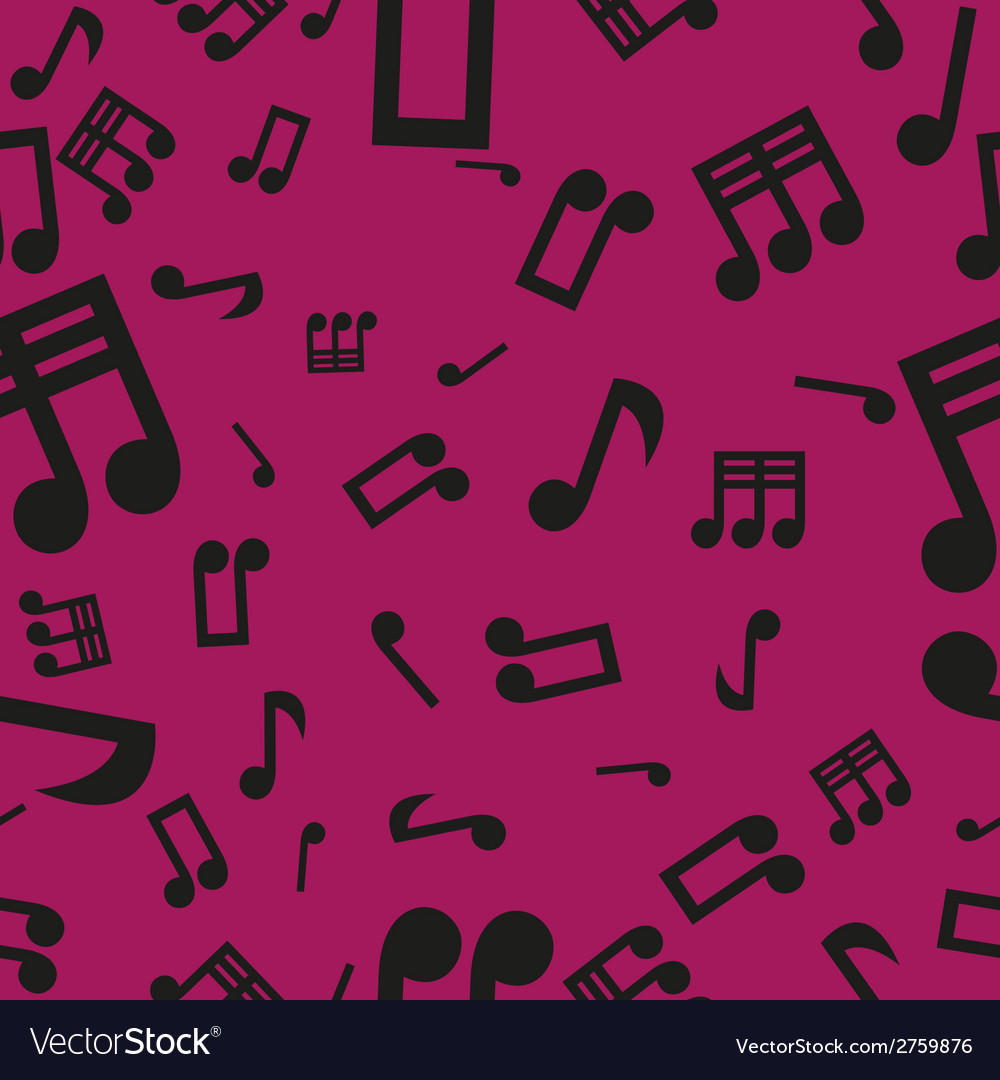 Musical notes seamless pattern pink vector | Price: 1 Credit (USD $1)