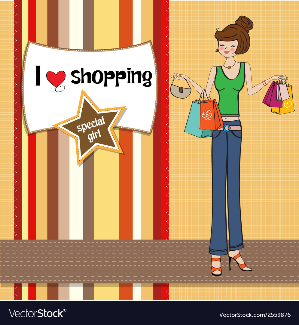 Pretty young lady at shopping vector | Price: 1 Credit (USD $1)