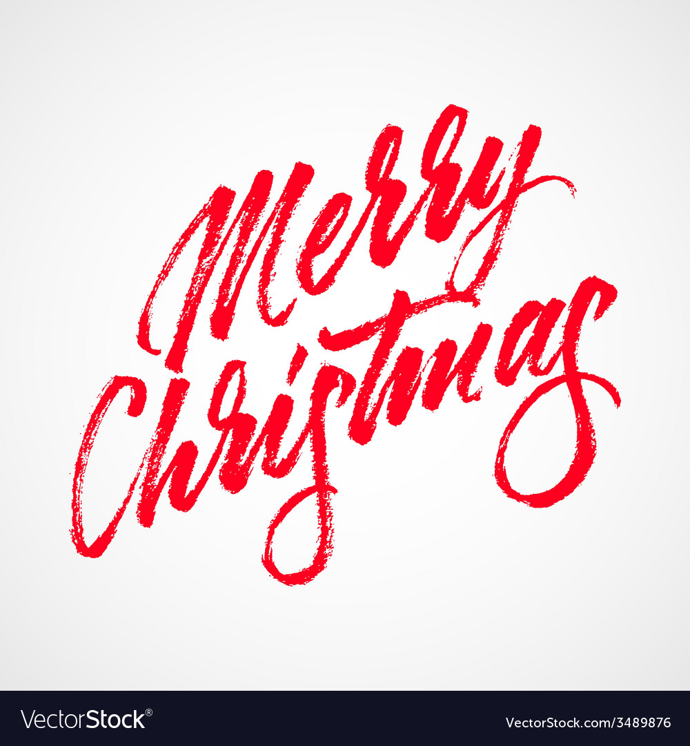 Red abstract merry christmas lettering vector