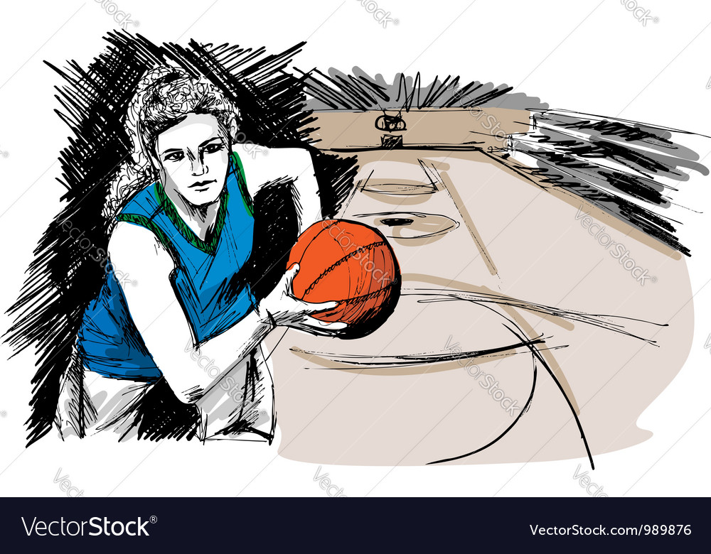 Sketch of basketball player vector | Price: 1 Credit (USD $1)