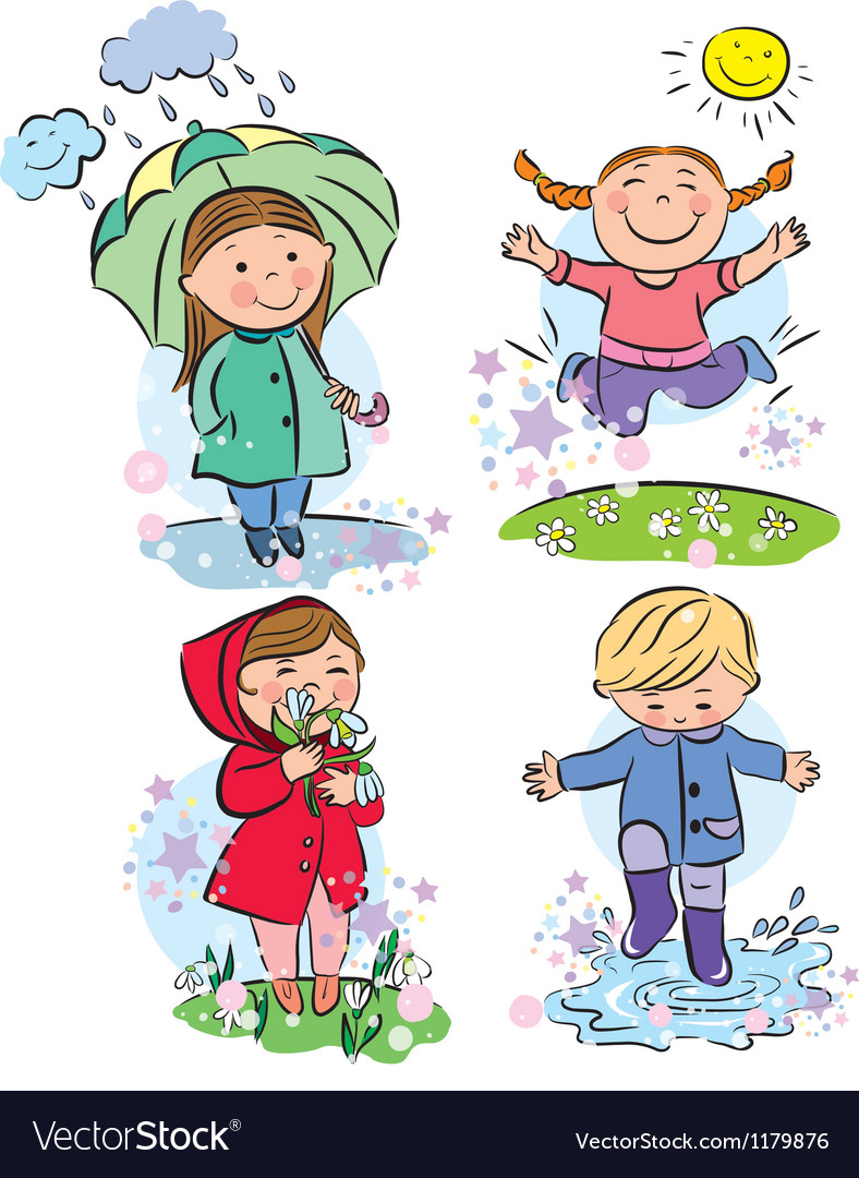Spring children vector | Price: 3 Credit (USD $3)