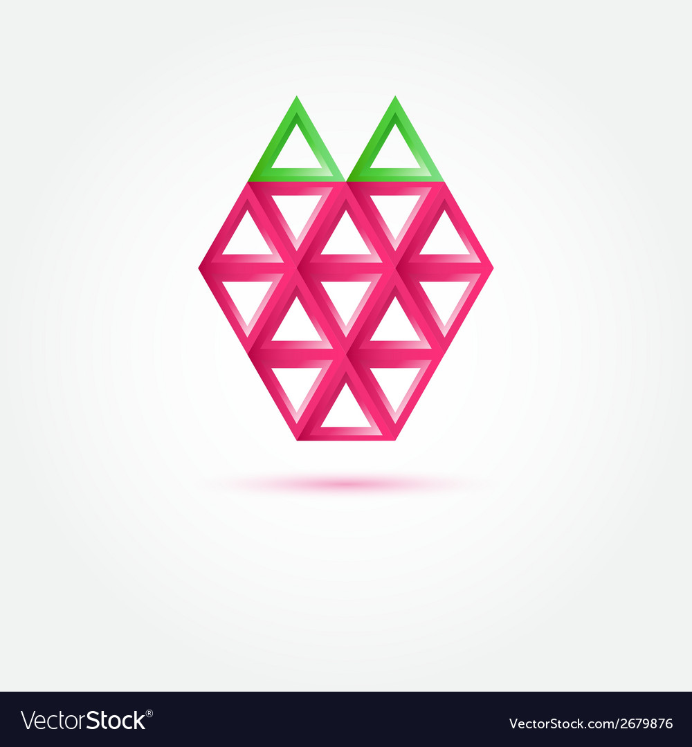 Strawberry icon made with triangles - abstract vector | Price: 1 Credit (USD $1)