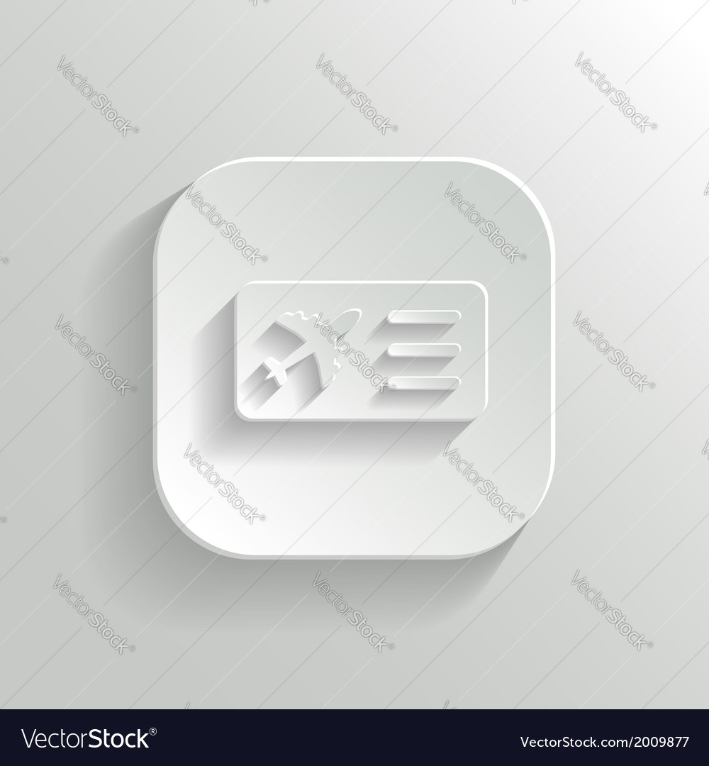 Airplane ticket icon - white app button vector | Price: 1 Credit (USD $1)
