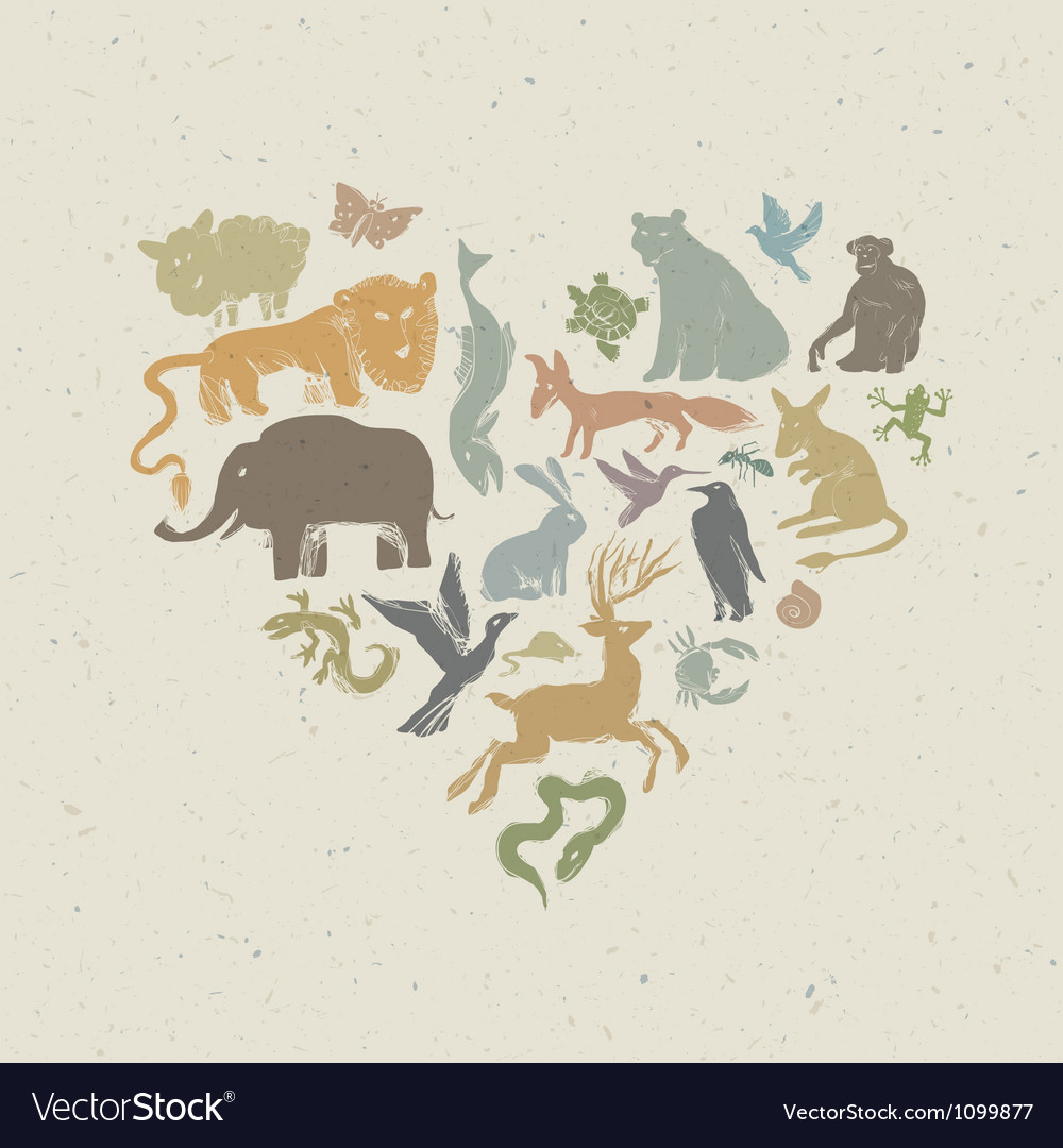 Animals silhouettes heart shaped vector | Price: 1 Credit (USD $1)