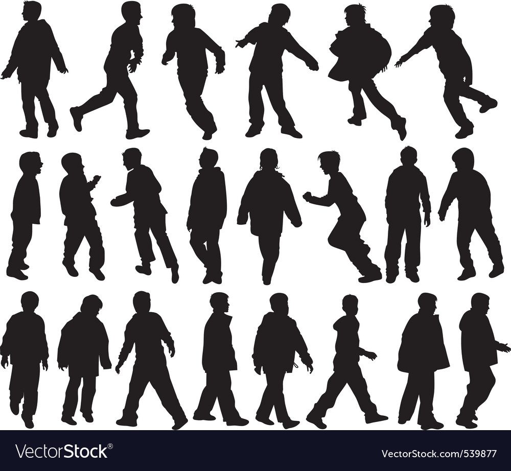 Boys silhouettes vector | Price: 1 Credit (USD $1)