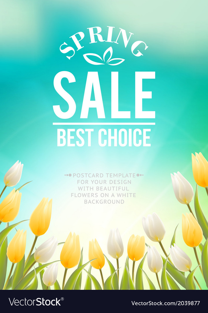 Bright blue sky field of tulips typography vector | Price: 1 Credit (USD $1)