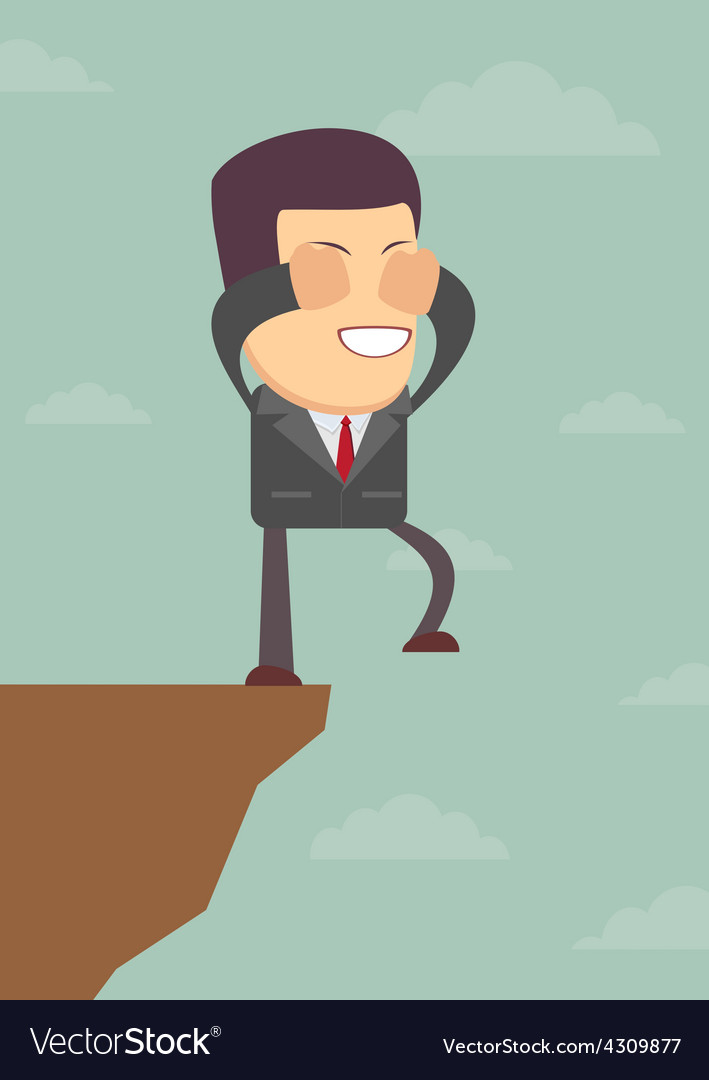 Businessman walks off a cliff vector | Price: 1 Credit (USD $1)