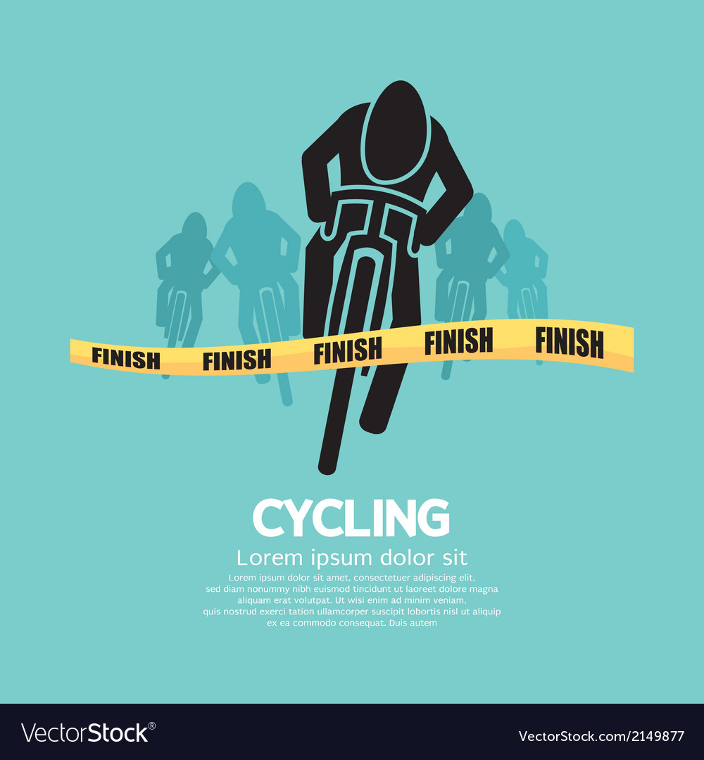 Cyclist at finish line vector | Price: 1 Credit (USD $1)