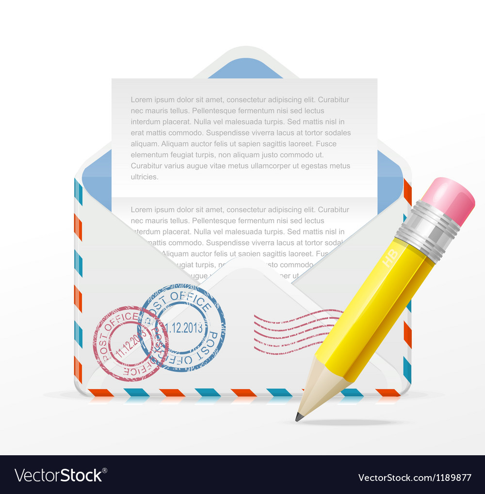 Detailed envelope and pencil vector | Price: 1 Credit (USD $1)