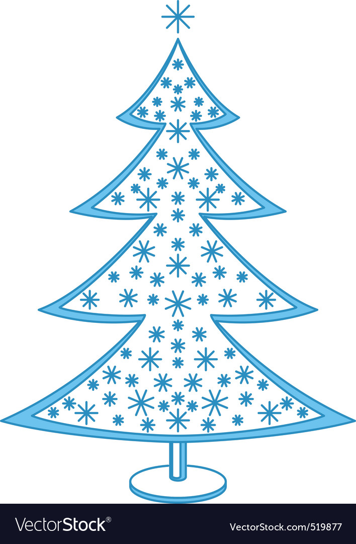 Furtree with snowflakes vector | Price: 1 Credit (USD $1)