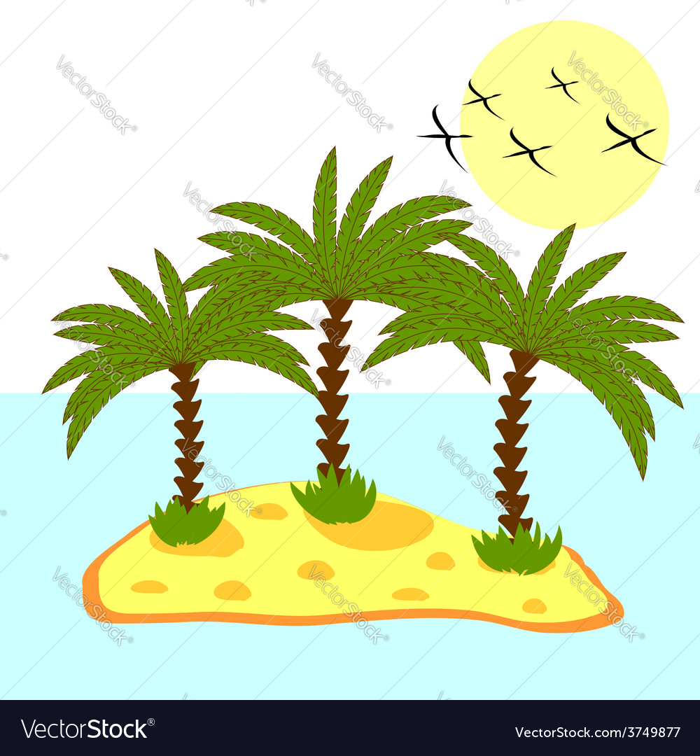 Palm tree in island on background vector | Price: 1 Credit (USD $1)